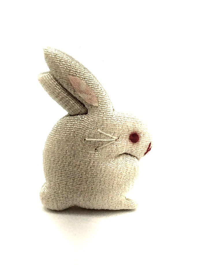 Japanese Chirimen Silk One-Of-A-Kind Brooch | Rabbit, (Usagi), Decorative Pin