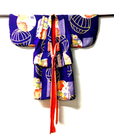 Vintage Japanese Childs Kimono with Tamari Ball Motif | Hand Made, Hand Stitched, Resist Dyed and Shibori Silk