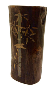 Japanese Vintage Carved and Lacquered Ikebana Vase | Paulownia Wood  with Maki-e