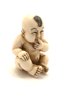 Antique Chinese Ivory Miniature Carving of a Baby Boy | Signed