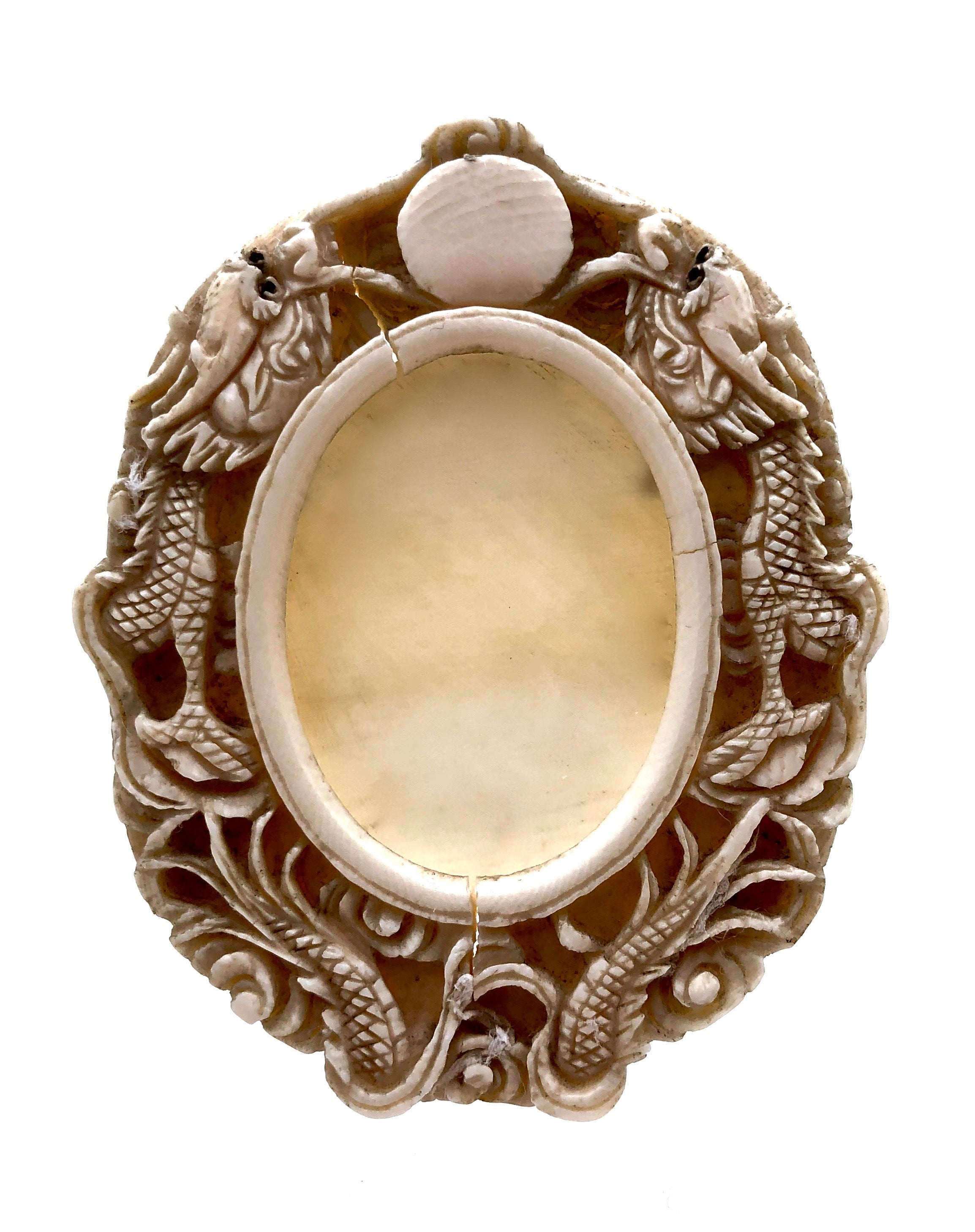 Antique Chinese Ivory Oval Picture Frame | Meiji era