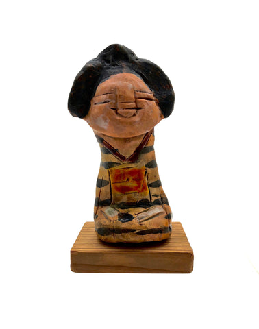 Japanese Contemporary Stoneware Figure of Oshin