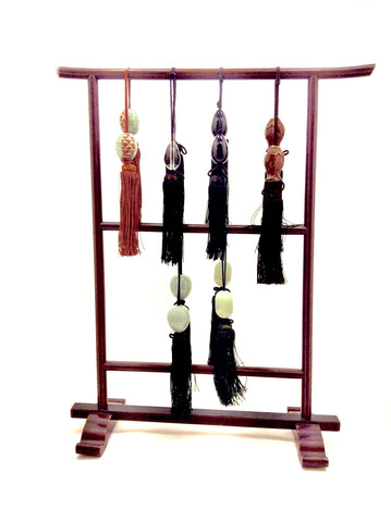 Vintage Japanese Tori Display Rack with Six Pairs of Scroll Weights (Fuchin)