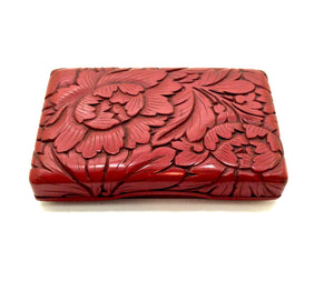 Vintage Japanese Negoro Lacquer Incense Box with Peony Motif Lid
