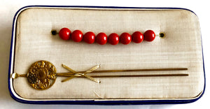 Antique Ball Style Kanzashi with Tama Coral Beads and Chrysanthemum Ear Spoon