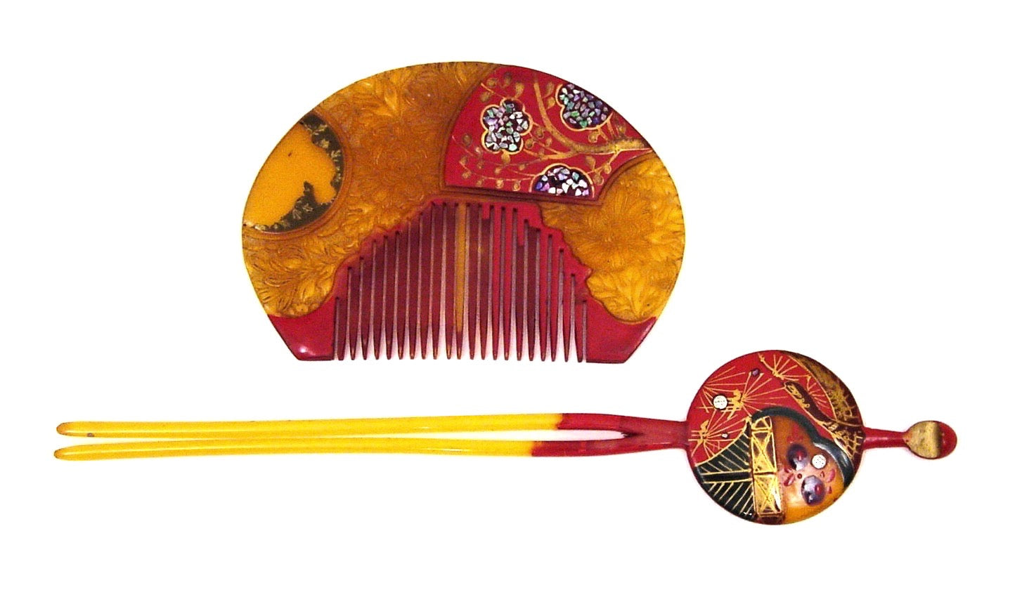 Vintage Lacquered Kushi and Kanzashi Inlaid with Aogai  | Japanese Hair Comb and Hairpin