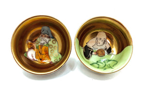 Japanese Kutani Sake Ceremonial Cups | Hotei and Jurojin, (two of The Seven Gods of Good Fortune) | Meiji Era