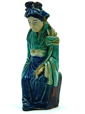 Antique Chinese Republic Shiwan (Shekwan) Pottery  | Woman with Lotus flower