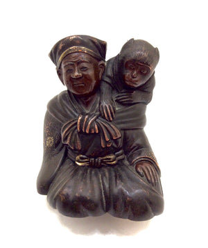 Antique Bronze and Gilt Merchant Figure with Monkey | Japanese Okimono By Miyao Eisuke of Yokohama | Meiji Period