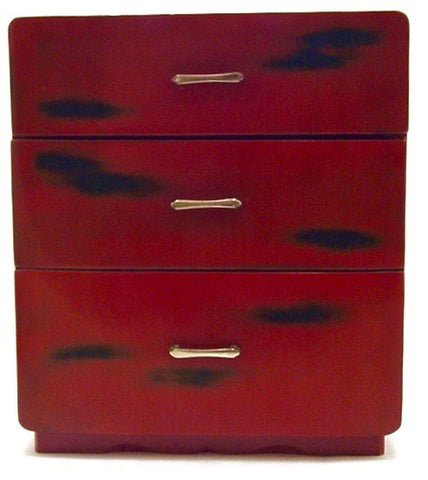 Vintage Japanese Negoro Lacquer Three Drawer Haribaco | Japanese Accessory Box
