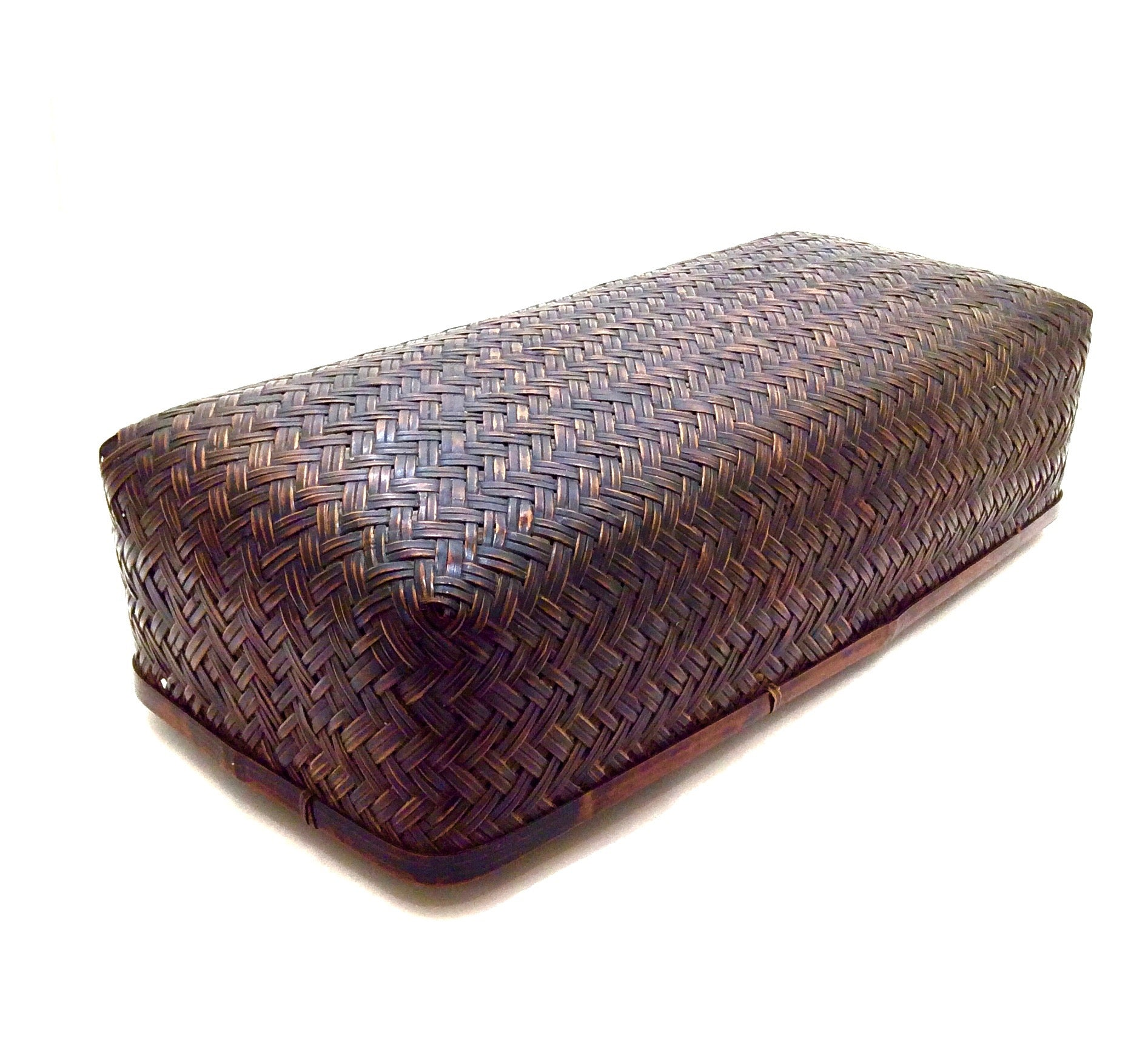 Vintage Japanese Pillow Form Basket | Rare Bamboo-Woven Headrest | Rare Lidded Basket