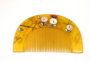 Vintage Lacquered Faux Tortoiseshell, Kushi and Kanzashi Set, (Japanese Hair Comb and Hairpin), with Rooster Inlaid of Aogai