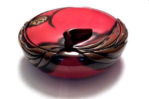 Japanese Ryukyu Shikki Vermillion Lacquer Sweetmeats Box with Lid