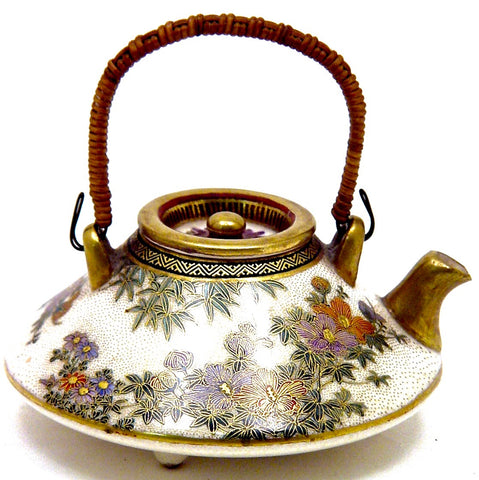 Antique Japanese Satsuma Teapot in a Flattened Circular Form with Floral Motif