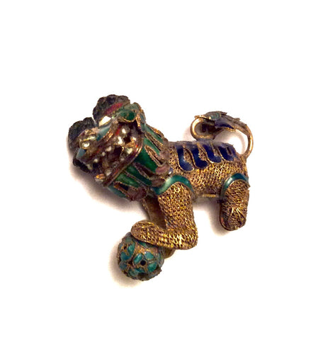 Vintage Miniature Chinese Foo Dog, (Shishi), with Articulated Head | Chinese Cloisonné and Filigree Pendant