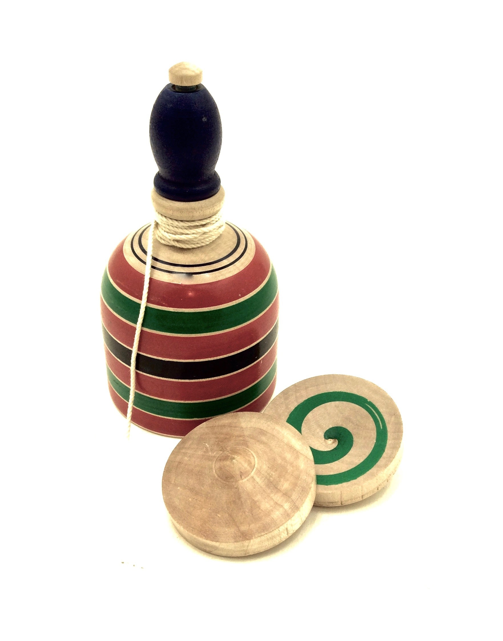 Japanese Traditional Spinning Top with Cord and Smaller Tops Inside | Vintage Koma