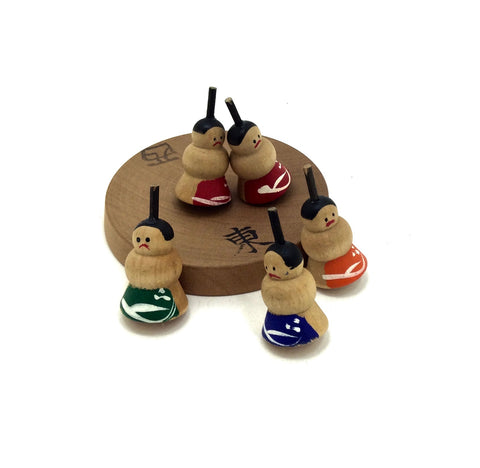 Japanese Folktoy l Five Sumo Wrestler Spinning Tops by Michiaki Hiroi | Vintage Koma