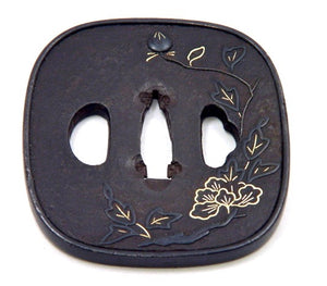 Japanese Iron Tsuba | Sword Guard with Peony Motif