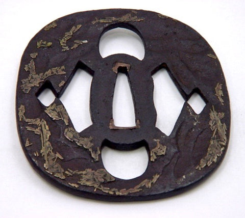 Japanese Iron Tsuba | Sword Guard with Pine Needle Motif