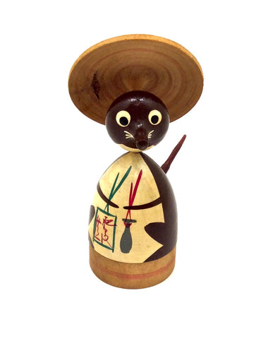 Japanese Traditional Spinning Top of Tanuki | Vintage Badger Koma