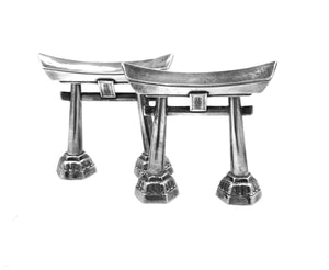 Japanese 925 Silver Shinto Tori Gate Salt & Pepper Shakers