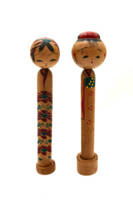 "Vintage Traditional Kokeshi ""Mailer Dolls"" 