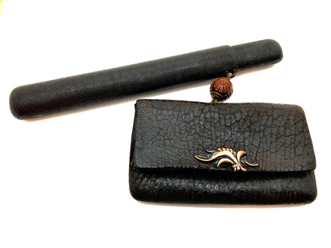 Japanese Fine Antique Sterling Kiseru Pipe and Slip Box, Leather Tabokoie (Tobacco Pouch) with Copper Kanemono Wheat Clasp and Ojime Bead | Meiji Era