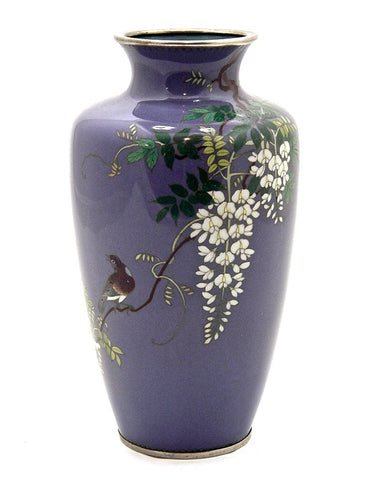 Antique Japanese Cloisonné Enamel Vase with Songbird and Wisteria Motif