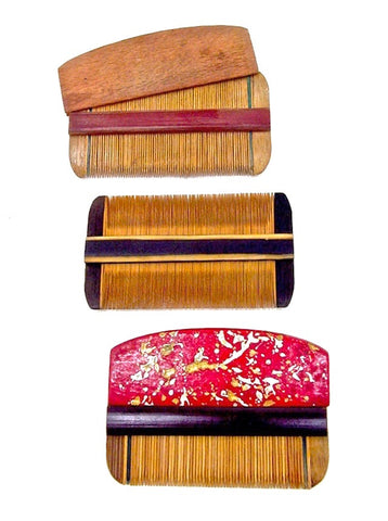 Japanese Vintage Boxwood Hair Comb Set | Kushi Comb and Sheath | Rare Tsuge | Traditional Wooden Hair Care Comb | Oroku Ryouba-gushi Comb