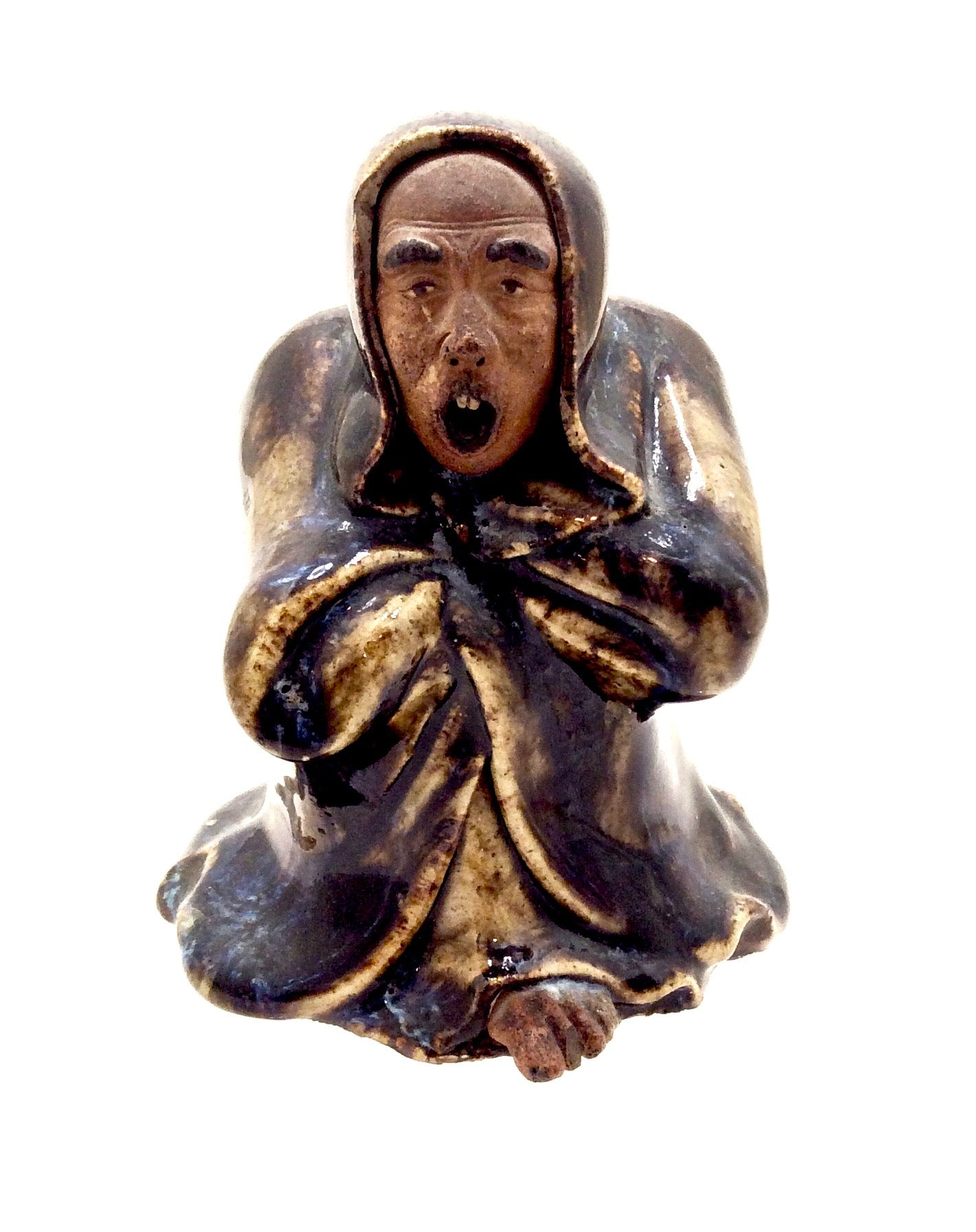 Antique Chinese Republic Shiwan (Shekwan) Pottery | Yawning Bodhidharma