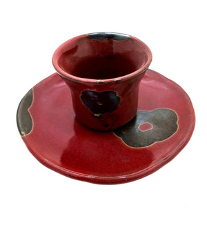Yoshinobu Tsuchiya Glazed Teacup and Saucer with Camiollia (Tsubaki) Motif | Fall Tea Ceremony Ceramics
