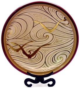 Exceptional Japanese Deco Lacquered Wood Bowl with Gold Sea Birds and Clouds | Marked S2K