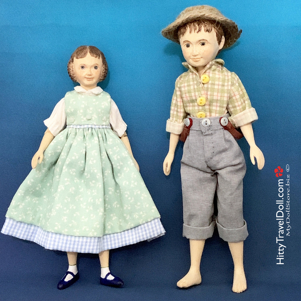 Hitty Mariella and Tom Sawyer by AE & Holly Mattos Dolls
