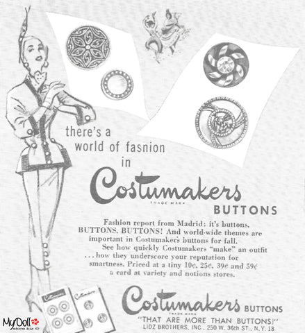 1954 Butterick Pattern Book Costumakers Buttons