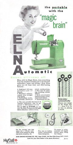 1954 Butterick Pattern Book Elna Sewing Machine Ad