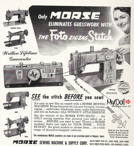 1954 Butterick Pattern Book Morse Sewing Machine Ad