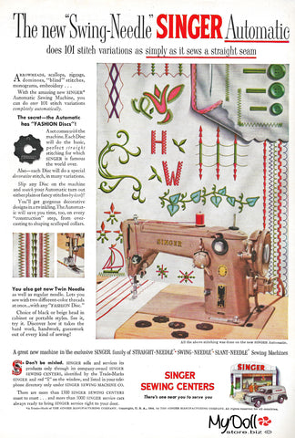 1954 Butterick Pattern Book Singer Sewing Machine Ad