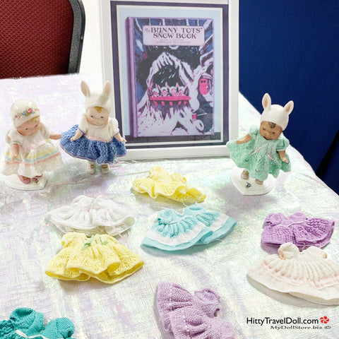 Tiny knitted doll clothes for all-bisque dolls
