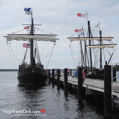 The Nina and the Pinta on the River at Fort Myers Florida