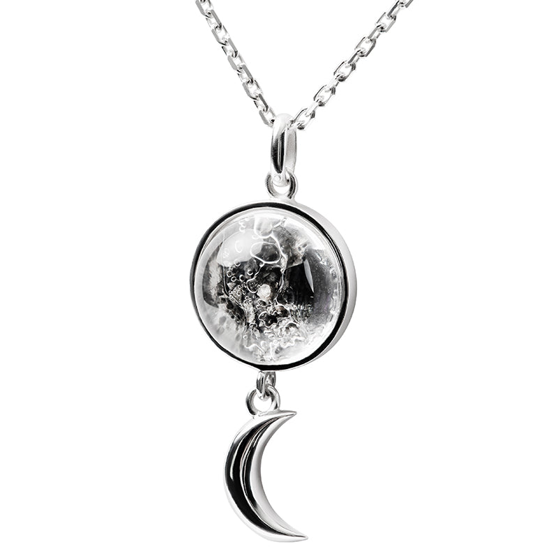 Sterling Silver Swaying Crescent Necklace Made With Moon Meteorite
