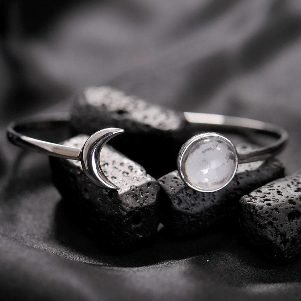 Sterling Silver Starlet Bangle Made With Moon Meteorite