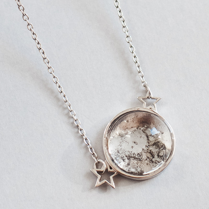 Sterling Silver Starfield Necklace Made With Moon Meteorite