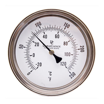 "DuraChoice Adjustable Industrial Bimetal Thermometer 5"" Face - Stainless Steel Case With Calibration Dial"