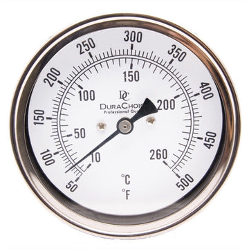 "DuraChoice Industrial Bimetal Thermometer 3"" Face - Stainless Steel Case With Calibration Dial"