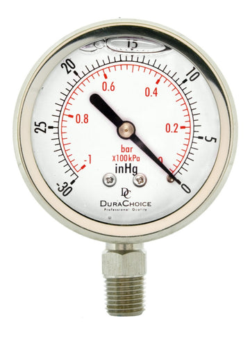 DuraChoice All Stainless Steel Liquid Filled Vacuum Gauge - Lower Mount