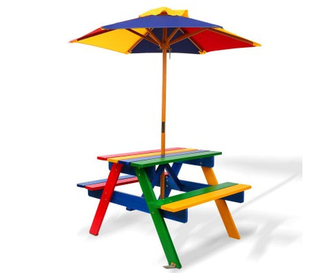 Colourful Wooden Picnic Table Set with Umbrella