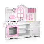 Wooden Kitchen Play Set - White & Pink Timber