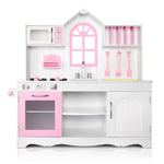 Wooden Kitchen Play Set - White & Pink Front