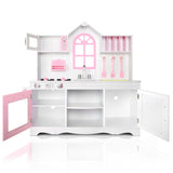 Wooden Kitchen Play Set - White & Pink Open