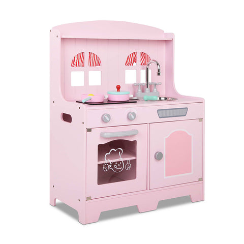 Wooden Kitchen Play Set - Pink & Silver